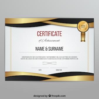Modelo de diploma dourado
