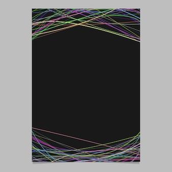 Modelo de folheto abstrato com curvas aleatórias em tons multicolores na parte superior e inferior