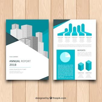 Modelo de folheto com gráficos e edifícios