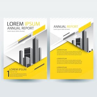 Modelo de folheto comercial com formas geométricas amarelas