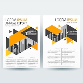 Modelo de folheto comercial com formas geométricas de laranja e cinza