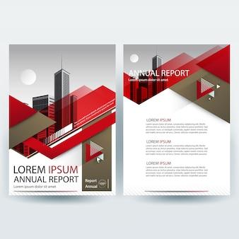Modelo de folheto comercial com formas geométricas vermelhas e marrons