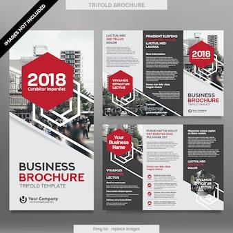 Modelo de Folheto de Negócios no Layout Tri Fold. Folheto de design corporativo com imagem substituível.