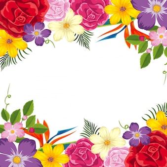 Modelo de fronteira com flores coloridas