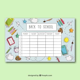 Modelo de horário escolar com objetos escolares