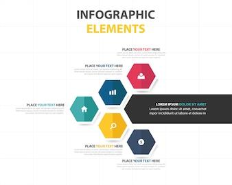 Modelo de infografia de hexágono abstrato colorido