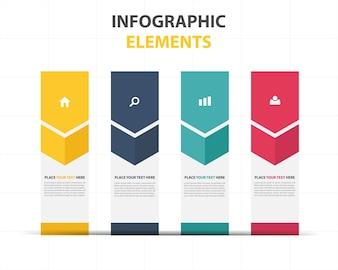 Modelo de infografia de negócios abstrato colorido da seta