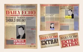 Modelo de jornal antigo do jornal, tablóide, reportagem de publicação de layout