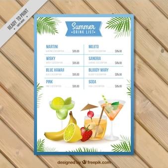 modelo de lista bebida do verão Aquarela