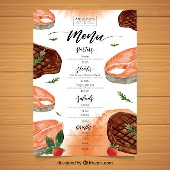Modelo de menu com alimentos em efeito aquarela