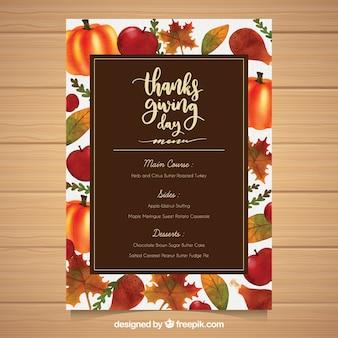 Modelo de menu de Ação de Graças com comida desenhada à mão