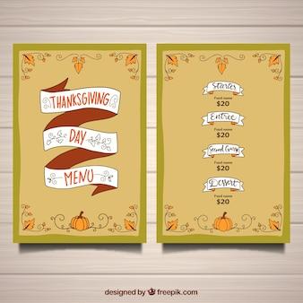 Modelo de menu de Ação de Graças com fita