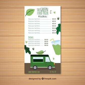 Modelo de menu de caminhão de comida vegana