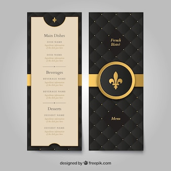 Modelo de menu dourado com estilo clássico