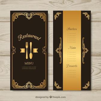 Modelo de menu dourado com moldura vintage