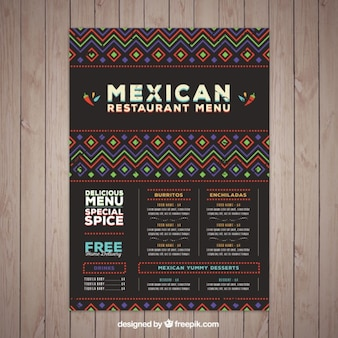 Modelo de menu mexicano com formas étnicas