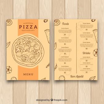 Modelo de menu vintage da pizza desenhada à mão
