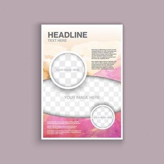 modelo de panfleto decorativo com um design da aguarela