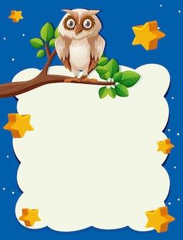 Modelo de papel com coruja à noite