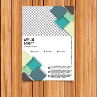 Modelo de relatório anual com quadrados