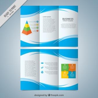 Modelo de três dobras do negócio com formas azuis abstratos