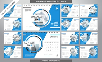 Modelo do Calendário de Mesa 2018 - 12 meses incluídos - Tamanho A5 - Tema da Escova de Arte