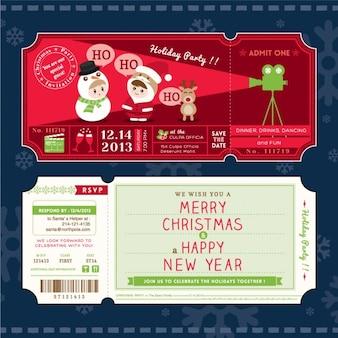 Modelo do cartão Ticket festa de Natal dos desenhos animados