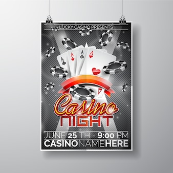 Modelo do cartaz da noite do casino
