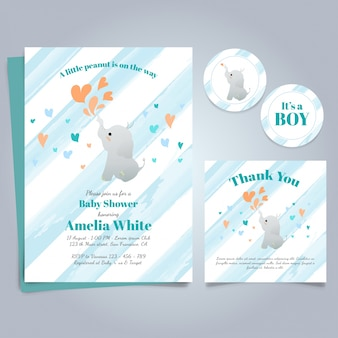 Modelo do convite da festa do bebé com elefante bonito