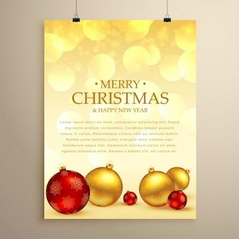 Modelo do natal cartão de passageiro feliz com bolas xmas realistas na cor vermelha e dourada