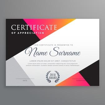Modelo elegante de design de certificado com formas poli simples