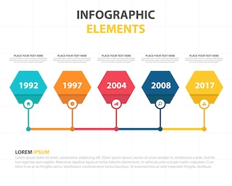 Modelo infográfico abstrato colorido de hexágono empresarial