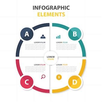 Modelo infográfico de negócios de círculos abstratos coloridos