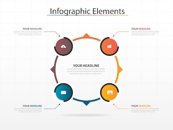Modelo infográfico de negócios de círculos coloridos