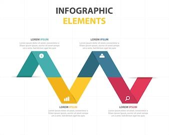 Modelo infográfico de negócios de triângulo abstrato colorido
