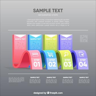 Modelo infográfico ondulado com passos