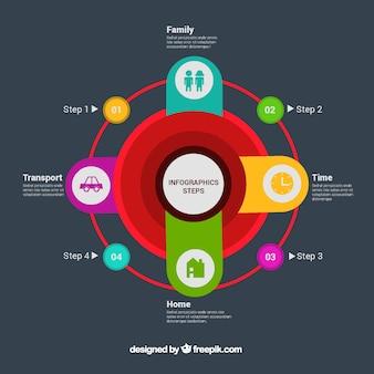 Modelo infográfico plano com opções redondas