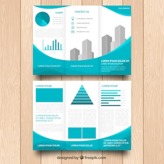 Modelo trifold empresarial com gráficos