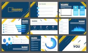 Modelos de apresentação com elementos infográficos para empresas.