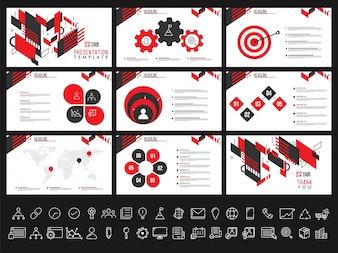 Modelos de apresentação criativa para seus relatórios e apresentação de negócios. Pode ser usado como folheto, folheto, design de capa.