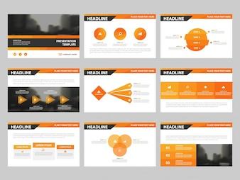 Modelos de apresentação de triângulo de laranja, Modelo de elementos informativos conjunto de design plano para relatório anual brochura folheto folheto marketing publicidade banner modelo