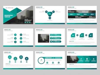 Modelos de apresentação de triângulo verde, Modelo de elementos informativos conjunto de design plano para relatório anual brochura folheto folheto marketing publicidade banner modelo