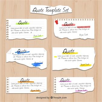 Modelos de cotações de caderno de papel