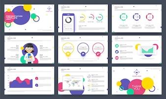 Modelos para slides de apresentação com infografia.