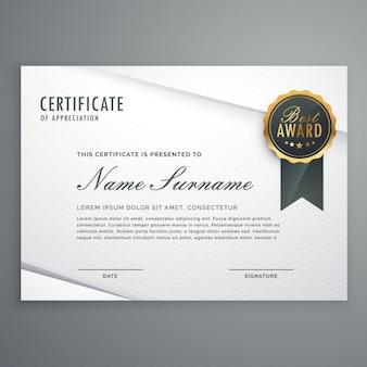Moderna certificado de estilo minimalista do modelo de apreciação com melhor emblema da concessão