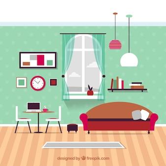 Moderna sala de estar móveis