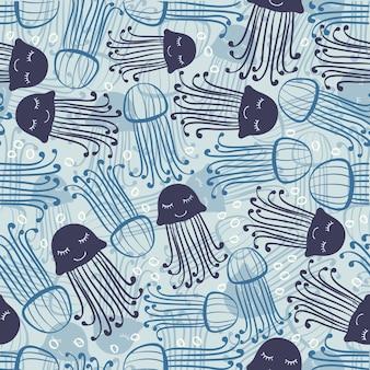 Mola abstrata, desenhada, azul, geléia, peixe, Bolha, Padrão, fundo