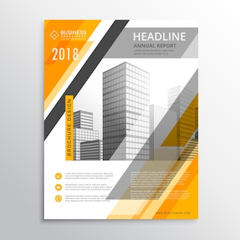 Molde abstrato do projeto amarelo e branco business flyer para a sua marca