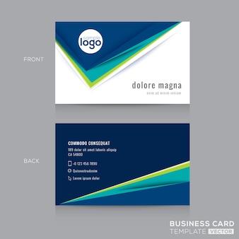 Molde abstrato do projeto moderno do cartão verde do negócio azul