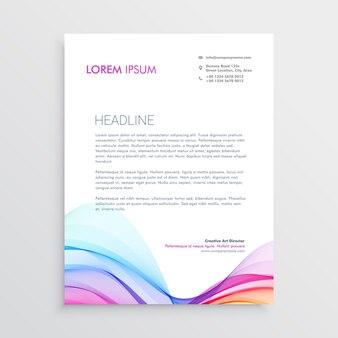 Molde colorido do design do cabeçalho com forma ondulada